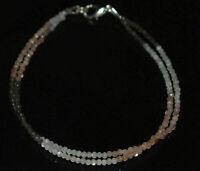 "925 Sterling Silver Multi Moonstone Gemstone 2 Layer 7"" Bracelet 2 mm Beads TR03"