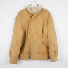 Vintage Beige Aviator Flight Leather Shearling Jacket Size Mens Large /R40012