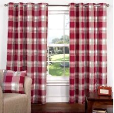 """Hamilton Check Luxury Curtains Eyelet Lined Ring Top Curtain Cranberry 66 x 72"""""""