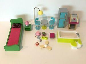 KidKraft Barbie Wooden Dollhouse Furniture Wood Kitchen Bed Toilet with Sound