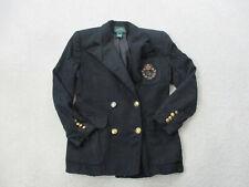 VINTAGE Ralph Lauren Jacket Womens 6 Blue Gold Button Crest Blazer Coat Ladies
