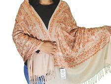 "Beige Brown Kashmir Embroidery Wool Dress Wrap Evening Shawl Trendy Scarf 80"""