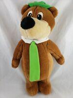 "Yogi Bear Plush Brown Green tie hat 14"" 1995 Hanna Barbera Stuffed Animal Toy"