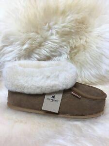 Ladies Genuine Sheepskin Hard Sole Lena Bootie Slippers  Warm 4 5 6 7 8 Chestnut