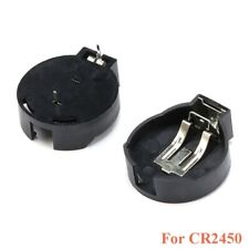 10pcs CR2450 2450 Coin Cell Button Battery Socket Holder Case 2 Pins Black