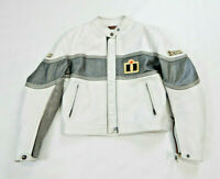 Icon Neo Daytona Jacket White Womens Medium Leather Racing Asphault Technologies