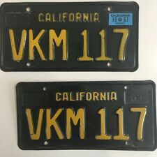 California 1963 BLACK LICENSE PLATES  DMV clear YOM