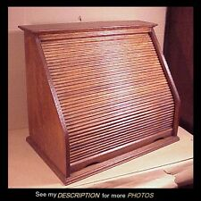 Great!! Antique Quarter Sawn Oak Roll Front Desk Organizer