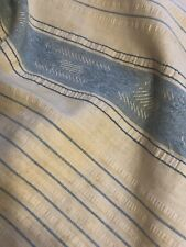 Antique Textile Cotton Stripe Ticking Plisse Yarndye French Blue Ribbon Damask