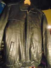 Women's Bomber style Jacket black leather Covington size Small motorcycle coat