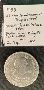Dominican Republic 1955 Peso Trujillo BU :27 Gr .900 Silver Crown & *No Reserve!