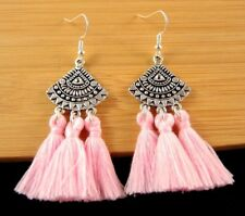 Statement Pair of Pink Cotton Tassels Dangle Fashion Boho Earrings #1462