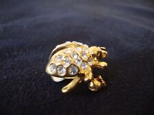 VINTAGE LADYBUG W/ CLEAR RHINESTONE ACCENTS GLASS BODY GOLD TONE PIN 1970s