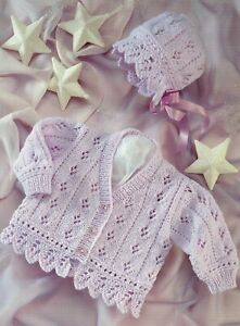 Baby DK Knitting Pattern Cardigan and Bonnet Sizes 16-26  inches #116