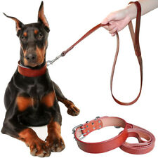 Brown Genuine Leather Dog Collar and Leash Set Small Large Adjustable Rottweiler