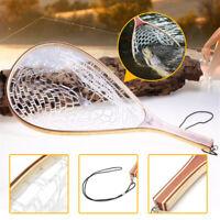 Fly Fishing Landing PAN Net Trout Net Wooden Handle Rubber Fish Catch Tool 56cm