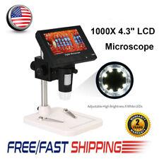 1000x 43 Lcd Screen Digital Video Electronic Microscope Hd 8led Lights Holder