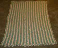 NICE Sea Green Pastel Line Pattern Scalloped AFGHAN Handmade Knit Blanket Throw