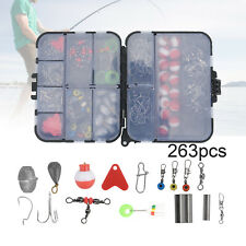 263Pcs Fish Tackle Box Fishing Accessories Case Fish Hook Lure Parts Set Kit