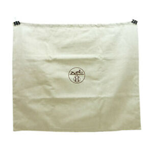 Authentic HERMES Drawstring Dust Bag Ivory Tweed #S409063