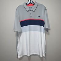 Men's Adidas Climacool Polo Golf Shirt Short Sleeve Navy Pink Gray Size Large