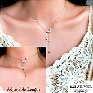 Moon Stars 925 Sterling Silver Necklace Crystal Crescent Chain Womens Girls