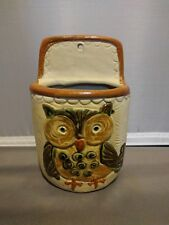 """Owl Wall Pocket Counterpoint Japan Handpainted Pottery Vintage Planter 5"""""""