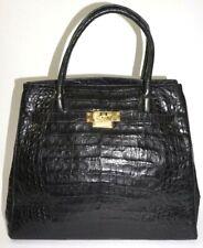 Finesse La Model Vintage Black Faux Crocodile Alligator Birkin Bag