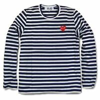 NAVY BLUE Unisex New COMME Des GARCONS CDG PLAY WHITE STRIPED LONG T-SHIRT TEE