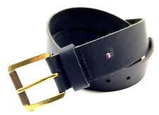 $199 TOMMY HILFIGER Men's BLACK LEATHER STRAP CASUAL ROLL-BUCKLE BELT SIZE 38
