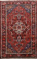 Vintage Geometric Bakhtiari Area Rug Wool Hand-knotted Oriental Carpet 7x10 ft