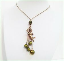NEW PILGRIM 16K GOLD PLATED CHAIN NECKLACE GREEN BEADS CRYSTALS ANGEL PENDANT