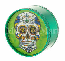 """2"""" Candy Skull 3D Holographic Grinder Green 3 Piece Tobacco Herb Spice GR41CSK3D"""