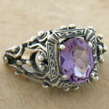 GENUINE BRAZIL AMETHYST ANTIQUE VICTORIAN DESIGN 925 SILVER RING SIZE 7, #617
