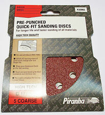 Black and Decker X32002 NEW Pack of 5 Pre Punched Quick Fit Sanding Discs 115mm