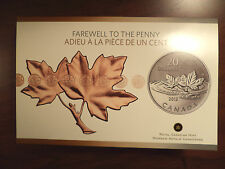 CANADA 2012 $20 FAREWELL TO THE PENNY 99.99 FINE SILVER COMMEMORATIVE $20 COIN