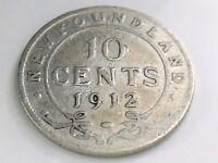 1912 Newfoundland Canada Ten 10 Cent Silver Dime Circulated Canadian Coin I458