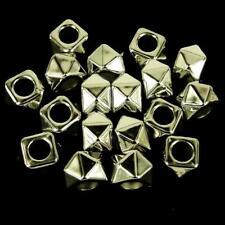 40 x CCB Plastique Perles Intercalaires Argenté Large Trou 14X10mm Carré Kumihimo NP36