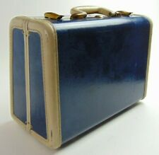 Vintage 50's Samsonite Luggage Make-Up Train Case Blue Marble Travel