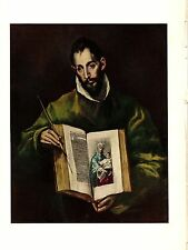 "1950 Vintage EL GRECO ""ST. SAINT LUKE"" GORGEOUS COLOR offset Lithograph"
