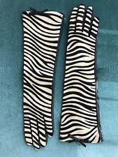 NWT Kate Spade Long Gloves Zebra Mignonette Calf Hair Original Gift Box 6.5