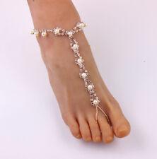 Bridal Jewellery Anklet Bracelet Uk Pair! Pearl Rhinestone Barefoot Sandal Beach
