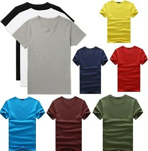 Men's Plain Blank Premium heavy Cotton T-shirt Basic Tee Short Sleeve New AU