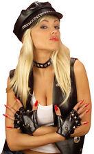 Punkrocker fingerlose Handschuhe mit Nieten NEU - Zubehör Accessoire Karneval Fa