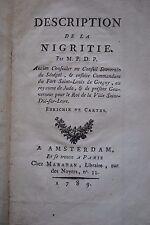 PRUNEAU DE POMMEGORGE. DESCRIPTION DE LA NIGRITIE. AMSTERDAM & PARIS - 1789