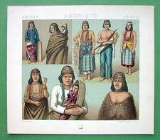 COSTUME American Indians N. California Oregon - COLOR Litho Print by A. Racinet