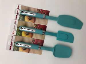 New KitchenAid Set of Three Mixer, Scraper and Spoon Spatula Aqua Sky (HAQA)