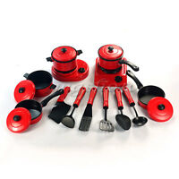 13PCS Kid Children Red Kitchen Utensil Accessories Cooking Play Toy Cookware Set