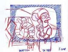 Simpsons Marge Bart, Blue-Red Marker & Pencil Line Concept Art HABF02 SE389