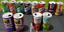 Lot of 12 Vintage Soda Cans (1980s) 7Eleven, Acme, etc. Top Opened, great shape